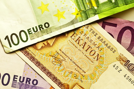greek currency: drachm or euro Stock Photo