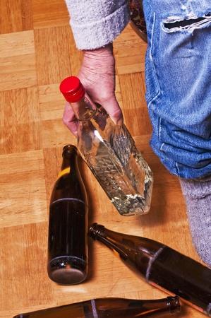 alcoholic man: alcoholism Stock Photo