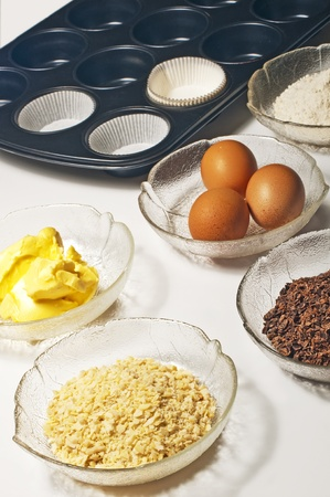 baking ingredients for muffins photo