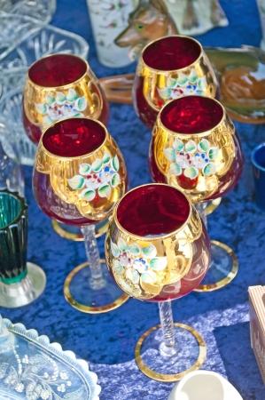 bric: bric-a-brac market with wine glasses