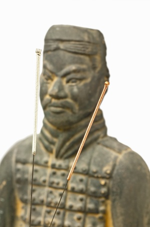 acupuncture needles with chinese antique soldier photo