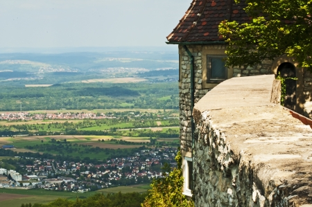 teck: Panoramic view of the German castle Teck Stock Photo