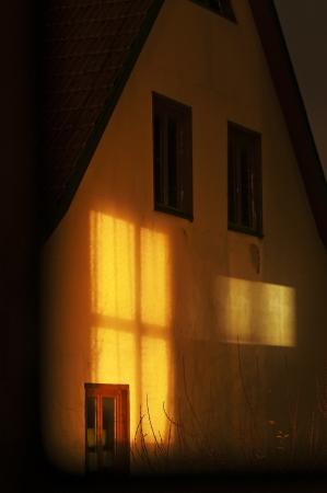 arcane: house with light beam Stock Photo