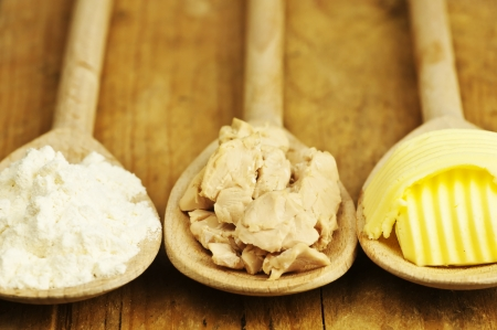 baking ingredients: baking ingredients butter, yeast and meal