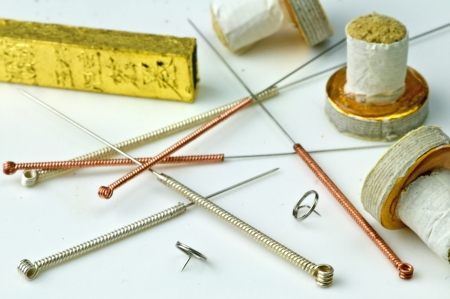 acupuncture needles and moxibustion  photo