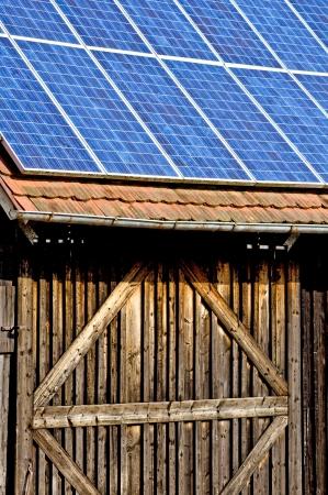 Solar panel on old barn photo