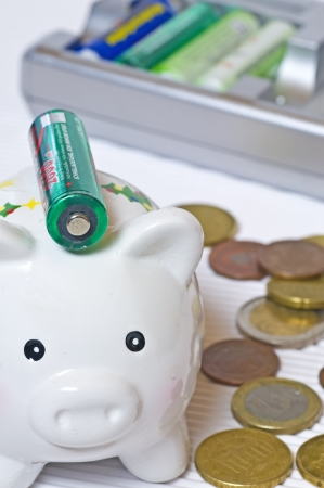 nimh: Piggy bank with accu Stock Photo