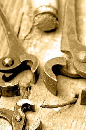 old rusty pliers with nail Stock Photo - 18782651