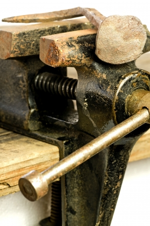 Bench vise with twisted nail photo