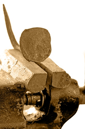 Bench vise with twisted nail Stock Photo - 18933866