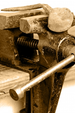 vise: Bench vise with twisted nail