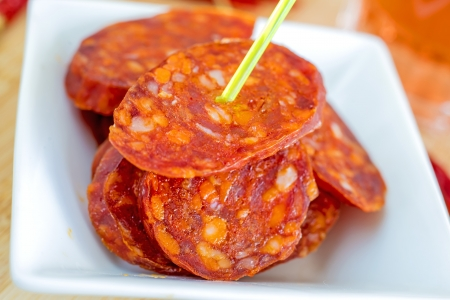 Chorizo, sausage of Spain Stock Photo - 21358859