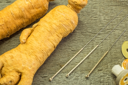 acupuncture needles and ginseng root Stock Photo - 21617781