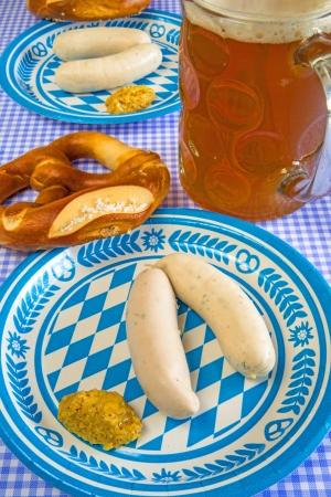 veal sausage: veal sausage dish on Oktoberfest