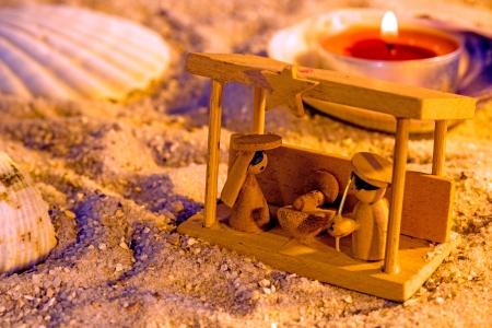 Nativity scene on a beach photo