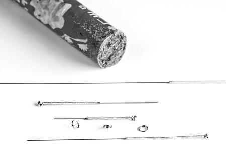 acupuncture needles and moxibustion Stock Photo - 23896840