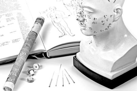 침술 바늘 모델과 교과서 뜸 시가