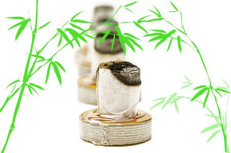 moxa: burning moxa cone Stock Photo