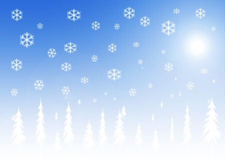 Winter background with snowflakes and trees photo