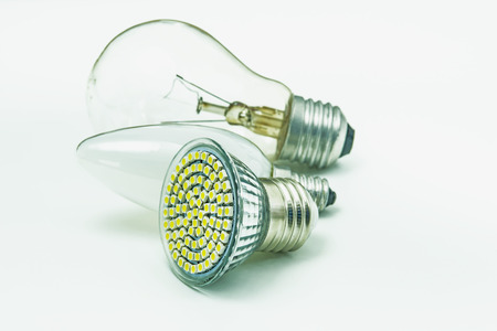 Light bulbs, old and modern LED photo