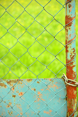 chainlink: Fence with green background