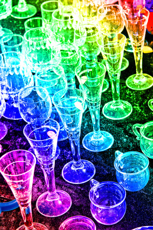 bric-a-brac market with colorful glasses photo