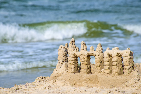Sand castle on a beach of the Baltic Sea in Poland Stok Fotoğraf