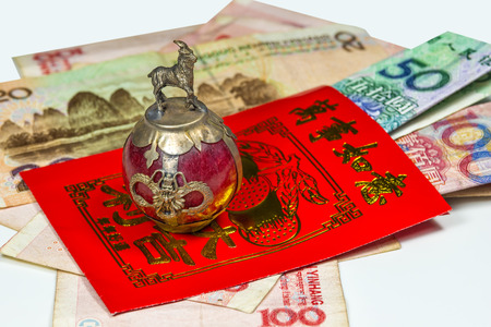 blessings: Chinese New Year envelope Lai Si with money and blessings Stock Photo