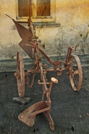 plough machine: antique agriculture machine plough