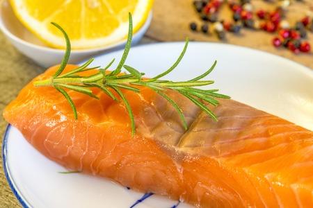 salmon fillet: Raw salmon fillet