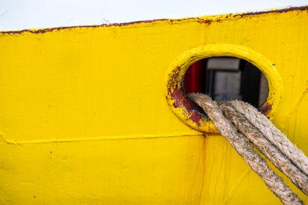 trawler: mooring line of a trawler Stock Photo