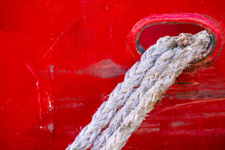 mooring: mooring line of a trawler Stock Photo