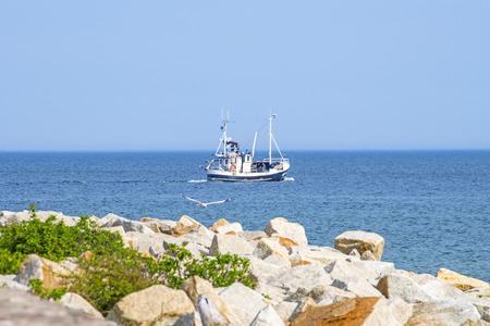 trawler: Baltic sea with trawler and seagull