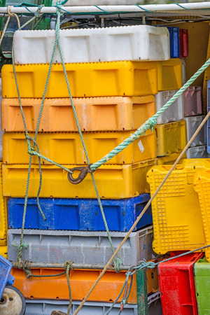 trawler: empty boxes for fish on a trawler