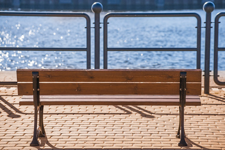 park bench at a seaport