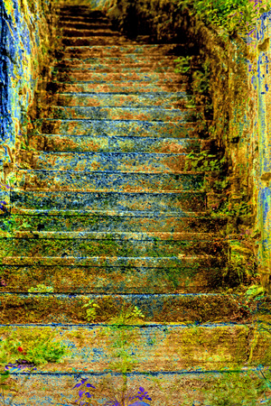 alienated: mystic old stairs Stock Photo