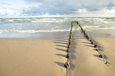 groynes: Baltic Sea with groynes and surf