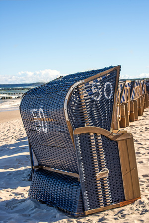 beach chairs: beach chairs at the Baltic Sea in Poland