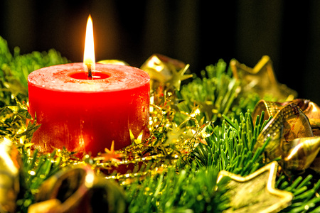 advent wreath: Candle on advent wreath