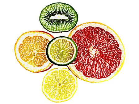 grapefruit juice: fruits on a white background