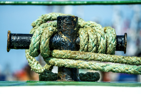 trawler: Cleat with mooring line of a trawler Stock Photo