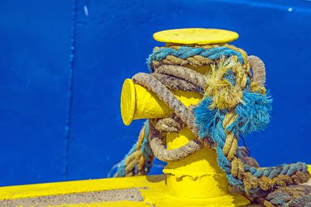 trawler: bollard with mooring line of a trawler