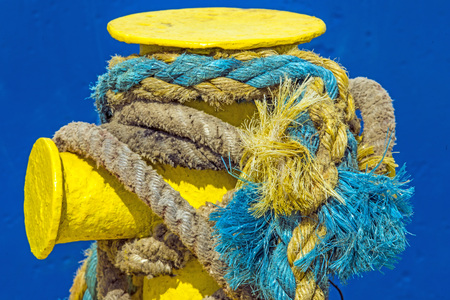 bollard: bollard with mooring line of a trawler