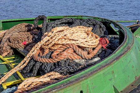 trawler: rope heap on an old trawler