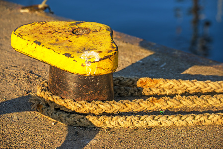 mooring: bollard with mooring line Stock Photo