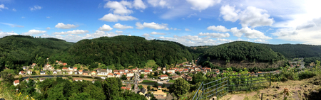 foresight: panoramic view to the city of Lutzelbourg and the Rhine-Marne canal, France