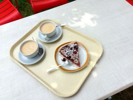 horticulture: French horticulture with cafe au lait and cherry pie Stock Photo