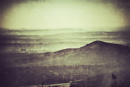 foresight: Swabian Alb, panoramic view in vintage style