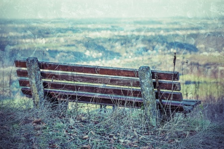 foresight: park bench with panorama in vintage style Stock Photo