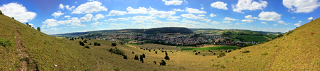archaeologically: Panoramic view of the Ipf, Celtic of the ancient Hallstein period